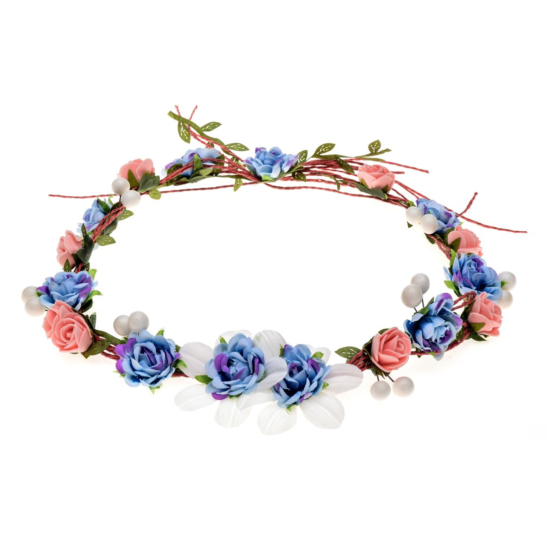 Love Sweety Women Girls Bride Rose Pearl Flower Crown Boho Floral Headpiece for Party (1# Blue)