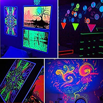UV LED Black Light,GLW 10W Ultraviolet Outdoor Flood Light,IP65 Waterproof with Plug for Dance Party,Fishing,DJ Night Clubs and More[2 Pack]