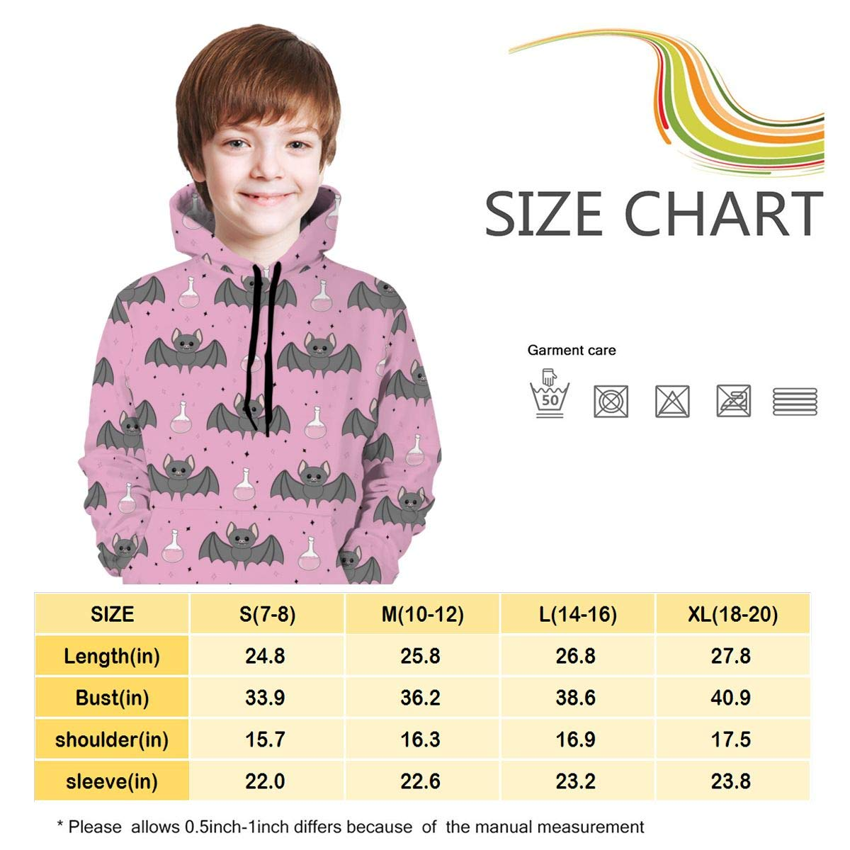 GuiJia Ye Boys Girls Hoodie Sweatshirts Fashion Cute Bat Pattern Pullover Hoodies