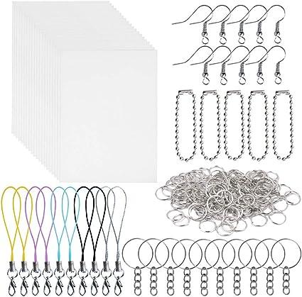 DIY Plastic Heat Shrink Sheets Kit Shrinkable Paper Craft Keychains Hole 10Pcs