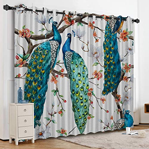 (KAROLA Blackout Curtains Window Treatments for Living Room/Bedroom Room Darkening Grommet Drapes and Curtains,Peacock in Flower 52
