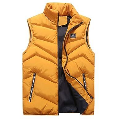 Hombre Chaqueta Invierno Abrigo Color Sólido, JiaMeng Moda Cuello de pie Color Puro Chaleco Chaleco Chaqueta Abrigo Superior: Amazon.es: Ropa y accesorios