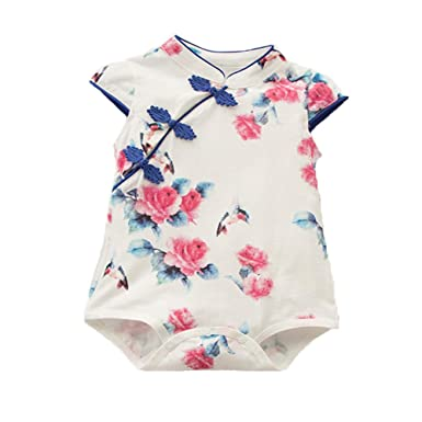 ab6c75733 AIKSSOO Infant Toddler Baby Girl Outfit Short Sleeve Formal Cheongsam  Onesies Size 3-6Months (