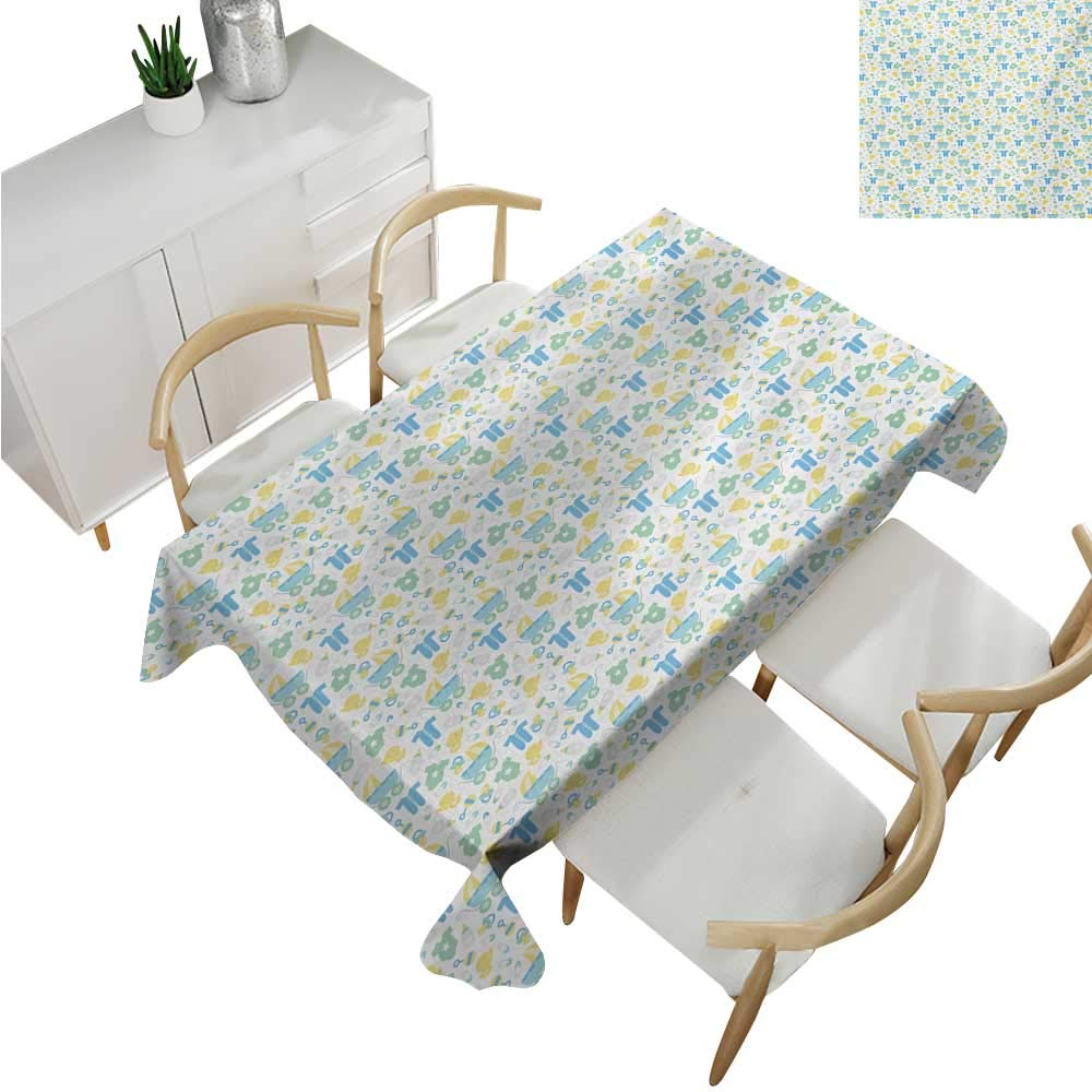 Baby,Tablecloth Factory,Retro Newborn Items Stroller Rubber Duck Milk Bottle Pin Pyjamas Pattern,Waterproof Table Cover for Kitchen 70''x 90''