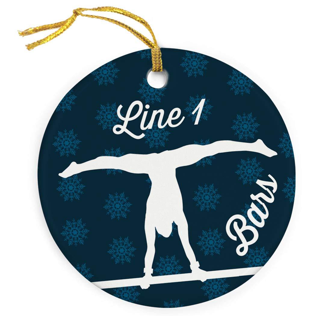 ChalkTalkSPORTS Personalized Gymnastics Porcelain Ornament | Bars Christmas Ornament | Blue