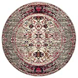 Safavieh Monaco Collection MNC209T Modern Abstract Grey Distressed Round Rug (5′ in Diameter)