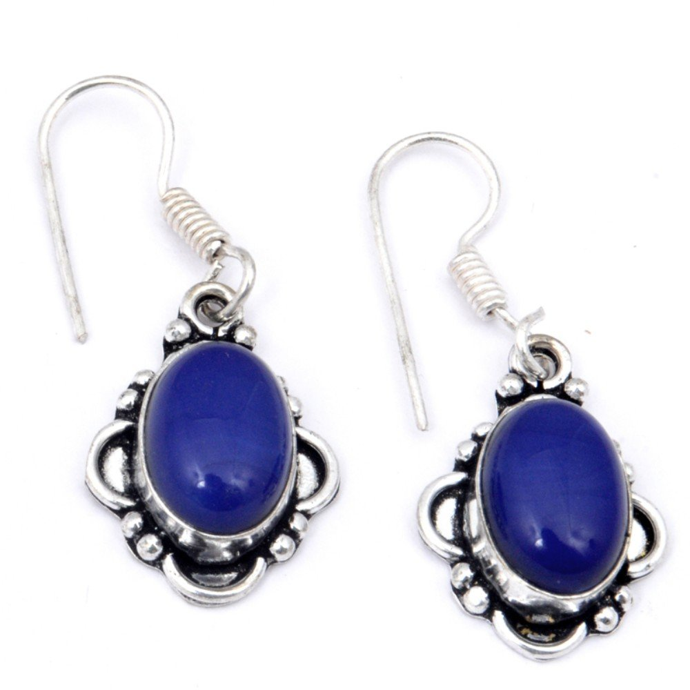 Handmade Jewelry Outstanding Blue Dyed Sapphire Sterling Silver Overlay Earring 1.75