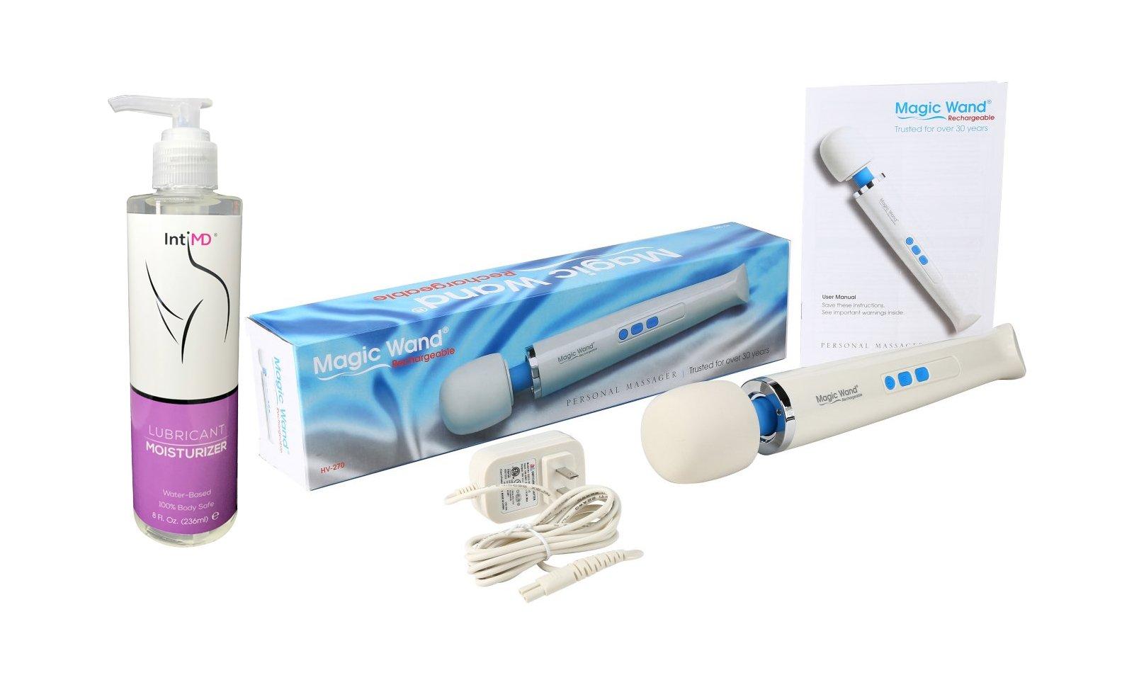 Magic Wand Rechargeable Cordless VIVA Kit Therapeutic Wand Massager Includes IntiMD Massaging Moisturizer 8oz