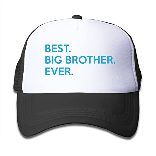 d1389f0acb8c6 Amazon.com  Kid s Best Big Brother Ever Slogan Trucker Hat Black ...