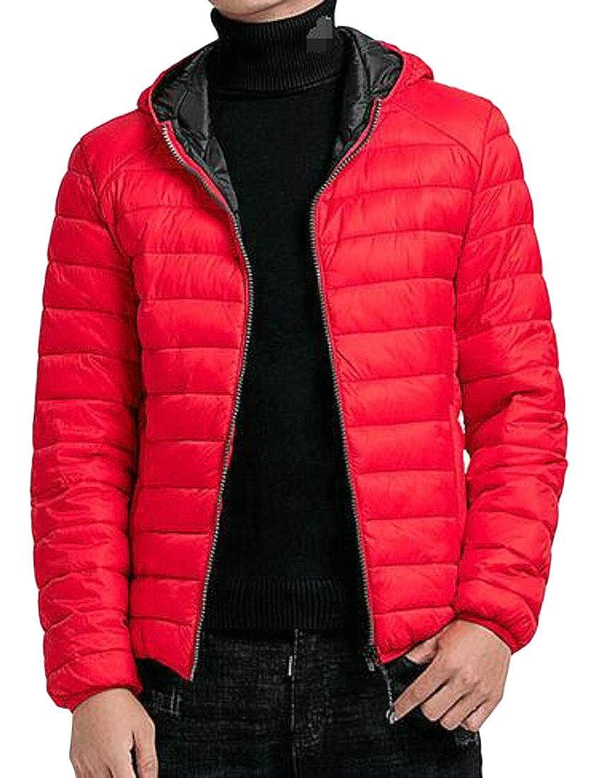 Cromoncent Men Winter Hooded Puffer Zip Up Overcoat Parka Jackets Coat