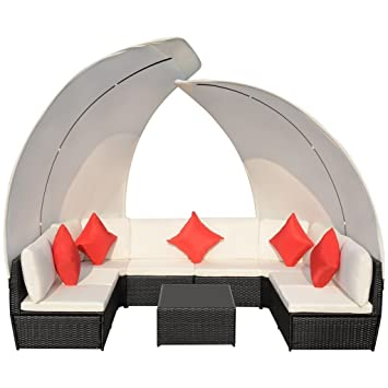 SENLUOWX Set de Muebles Sofá y Mesa de Jardín Exterior con Capota de ...