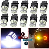 cciyu 10 Pack White 3157 Epistar 6000K 3014 54-SMD LED Lights Bulbs Replacement fit for DRL Light Back up Reverse Light Brake Light Parking Light Tail Light R-turn Signal Light