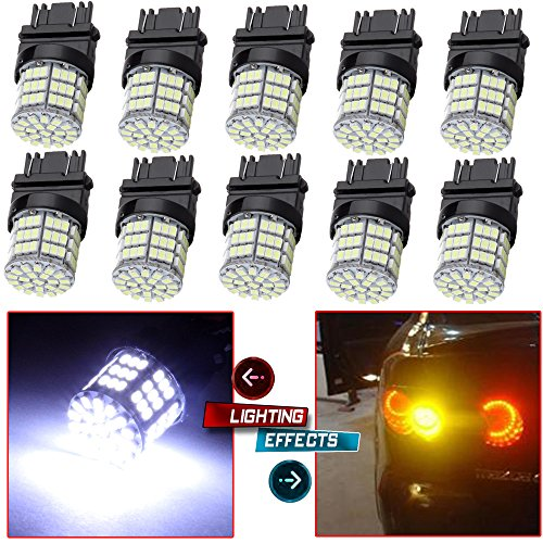 cciyu 10 Pack White 3157 Epistar 6000K 3014 54-SMD LED Lights Bulbs Replacement fit for DRL Light Back up Reverse Light Brake Light Parking Light Tail Light R-turn Signal Light by CCIYU