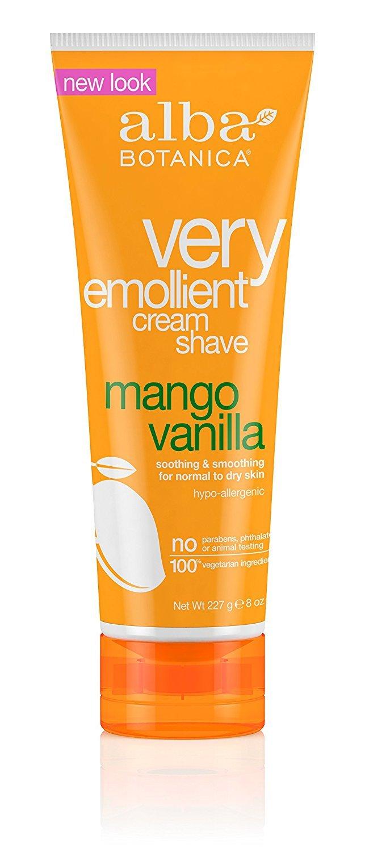 Alba Botanica Natural Very Emollient Cream Shave, Mango Vanilla 8 oz (Pack of 9)
