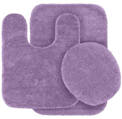 Garland Rug 3-Piece Traditional Nylon Washable Bathroom Rug Set, Purple
