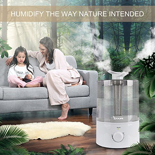 OXA 4L Large Capacity Cool Mist Humidifier Whisper-Quiet , Ultrasonic Air Humidifiers for Bedroom Babyroom Home Office, Two 360° Rotatable Mist Outlets, Waterless Automatic Shut-off (Gray)
