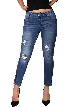 2efa410700c09 2LUV Women's Stretchy 5 Pocket Denim Skinny Ankle Jeans True Medium Denim 0