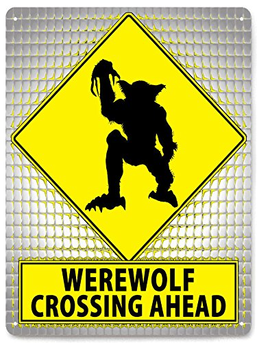WEREWOLF METAL Street Sign / HALLOWEEN bathroom plaque scary funny retro gift