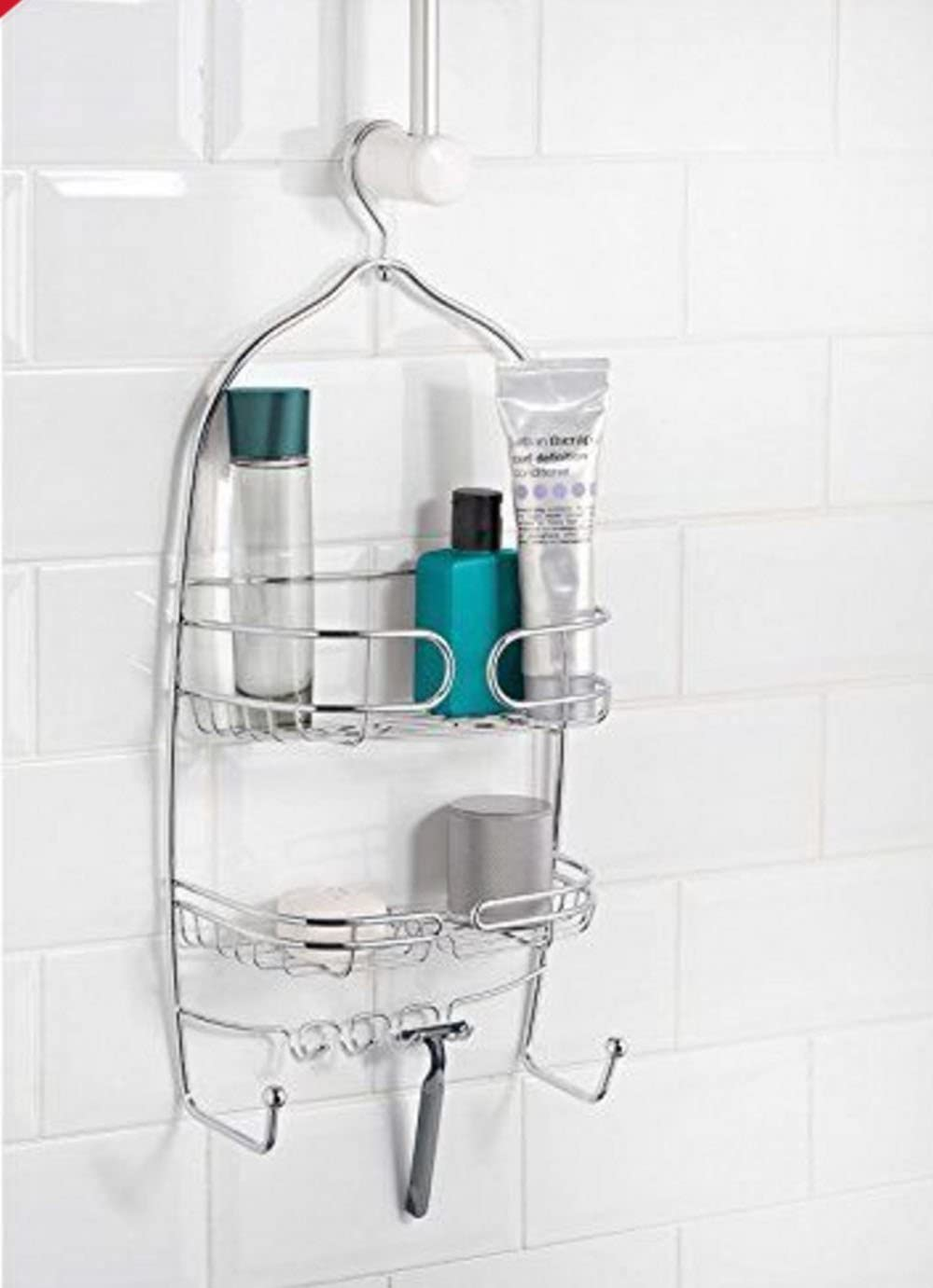 YourBathroom 3 Large Baskets Chrome Hanging Shower Caddy Rust Resistant