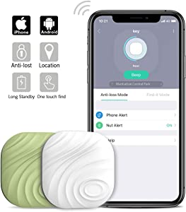 Nutale Nut3 Key Finder Locator (Pack of 2) – Smart Bluetooth Item Tracker & Finder Device for Wallet, Phone, Dogs, Cats - Anti-Lost Bidirectional Alarm Reminder - Replaceable Battery - White + Green