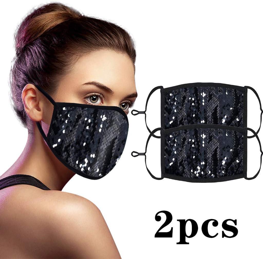 2 unidades ajustables de lentejuelas lavables y reutilizables, protección para la cara y la nariz, de algodón a prueba de viento a prueba de polvo para la vida diaria de las mujeres