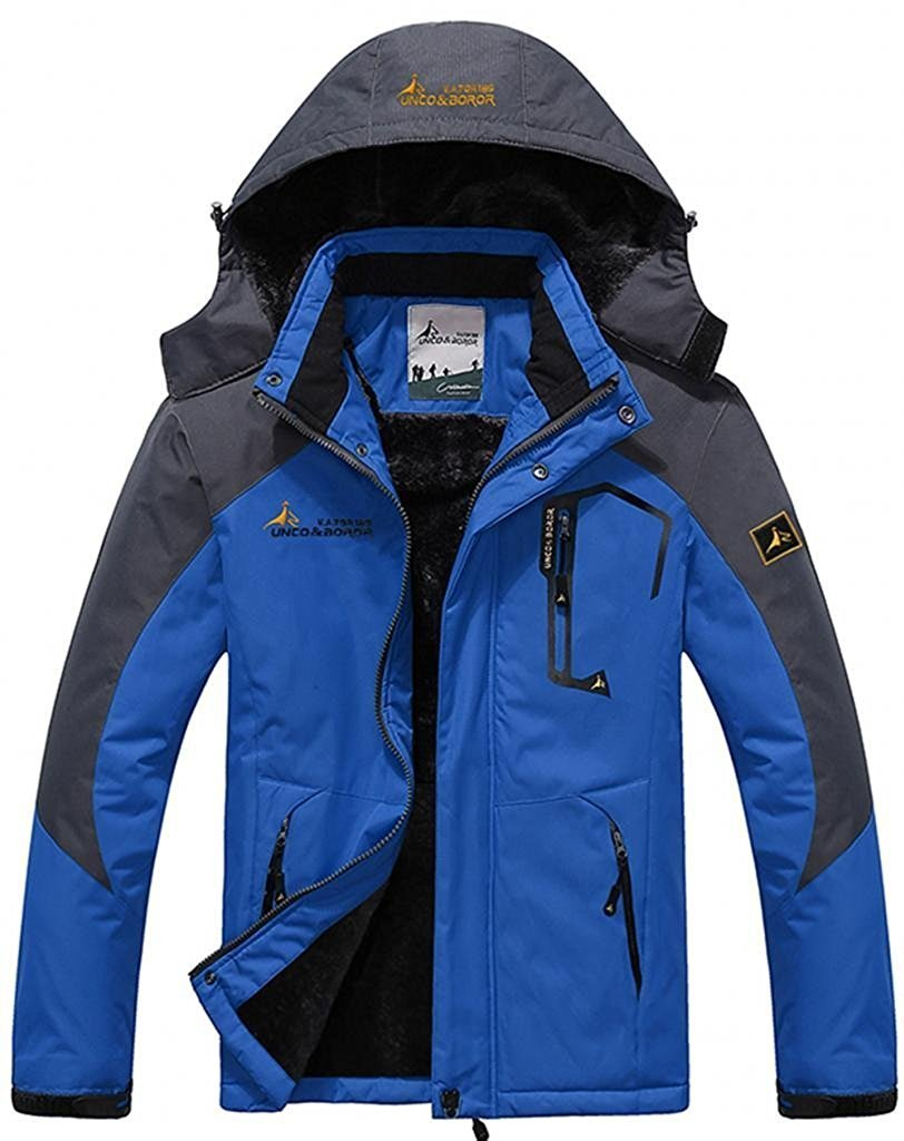 Passionate Adventure Mens Winter Windproof Waterproof Hoodie Cycling Jacket Blue US XL (Tag Size 4XL)