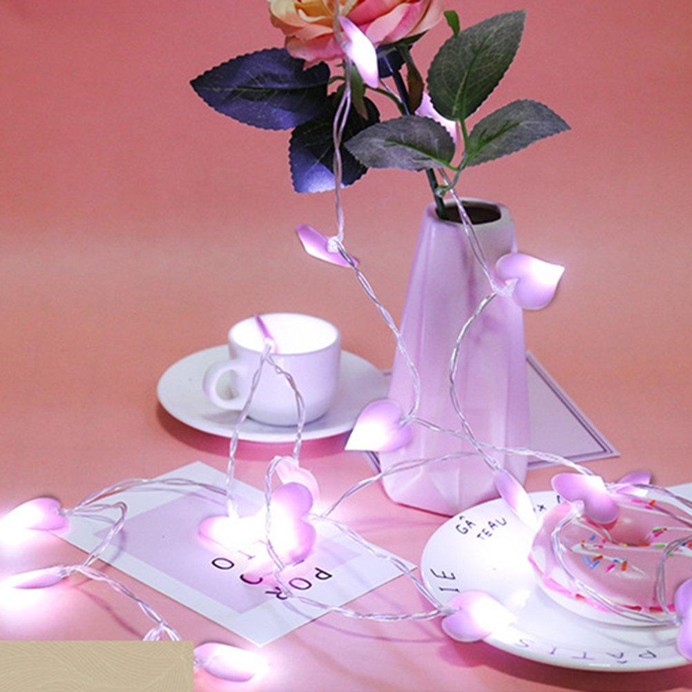 LEDMOMO luci di stringa di forma cuore rosa 3 metri 20 LED alimentato a batteria per arredo giardino casa paesaggio bianco caldo