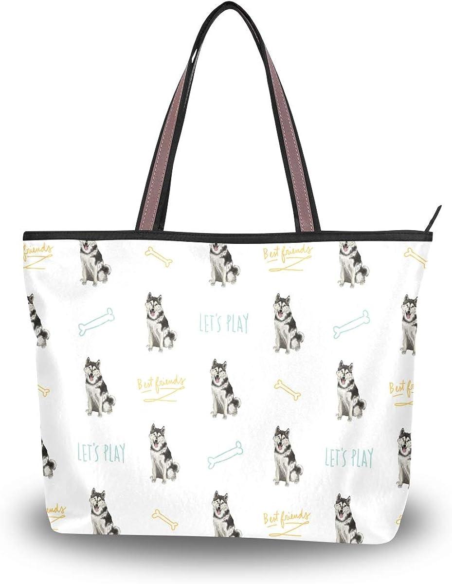 Handbags Shoulder Bag for Gym Travel Picnic Beach Stylish Dog Pup Husky Women/'s Tote Bag