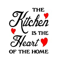 Lalang The Kitchen Is The Heart Removable Wall Stickers Decal Art DIY House Decoration (red)