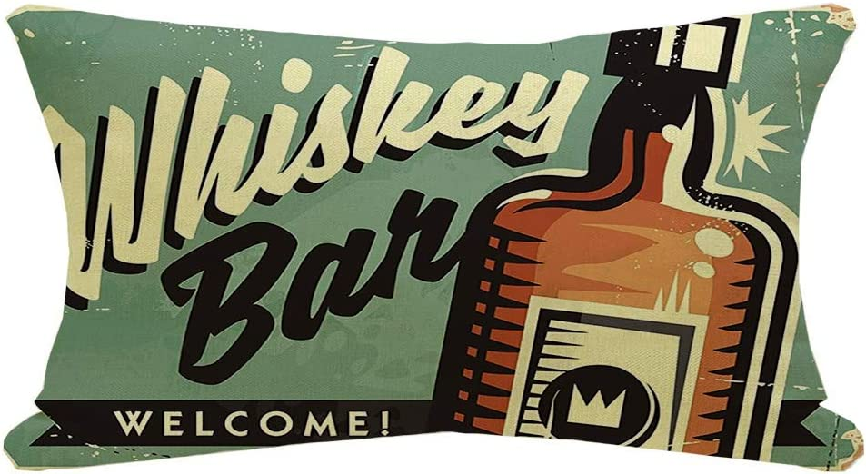 Staromin Lumbar Pillow Cover Welcome Whiskey Bar Promotional Retro Antique Sign Decoration Vintage Food Tin Glass Layout Drink Fall Throw Pillow Case Linen Cushion Cover for Sofa 12x20 Inch