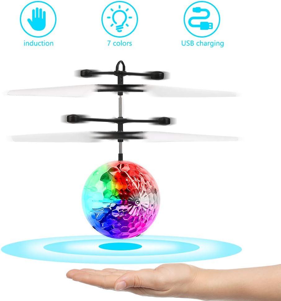 FEALING RC Flying Ball, avión de Juguete, helicóptero de inducción infrarroja, dron de Carga USB con luz LED Brillante para niños y niñas, Juegos de Interior y Exterior