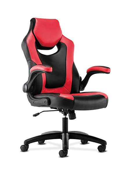 HON Sadie Racing Gaming Computer Chair  Flip Up Arms, Black And Red Leather