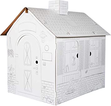 Cardboard Playhouse For Kids To Colour - XL Size Colouring Play House Made  From Strong And Durable Cardboard