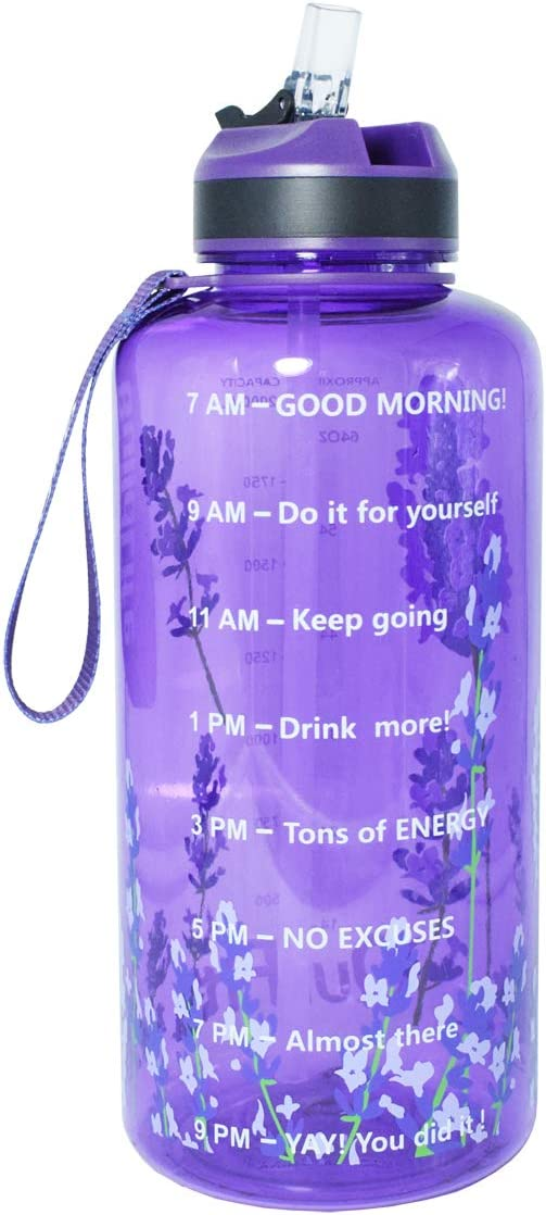 BuildLife Gallon Fitness Water Bottle/BPA Free/Wide Mouth with Straw Lid & Motivational Time Marker to Ensure You Drink Enough Water