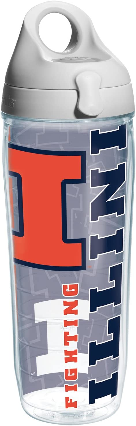 Tervis Illinois University Of College Pride Water Bottle with Grey Lid, 24 oz, Clear - 1216893