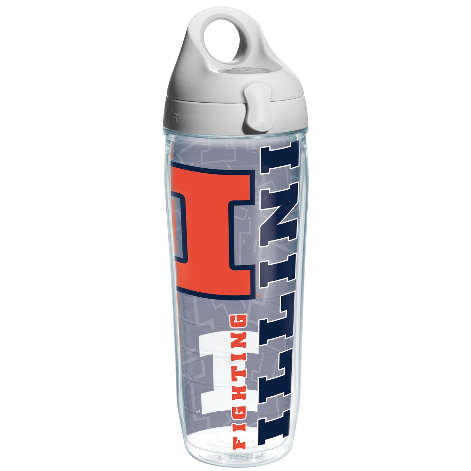Tervis Illinois University Of College Pride Water Bottle with Grey Lid, 24 oz, Clear