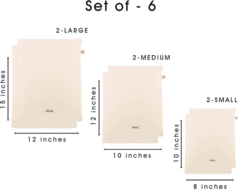 Sac /à l/égumes Sac coton -Sac en coton Ensemble de 7 Sac Tissu Sacs de l/égumes r/éutilisables Sacs en Vrac 1 des XXL, L, M, S, XS et 2 de XL Sacs en coton bio Sacs de l/égumes en coton