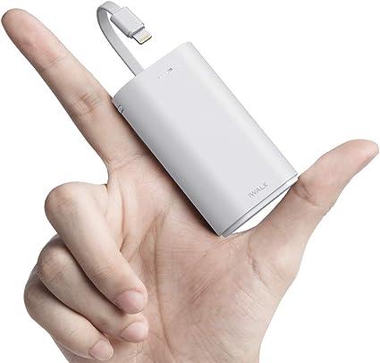 iWALK 9000mAh モバイルバッテリー 小型 Lightningケーブル内蔵 急速充電 iPhone 12/12 mini/Pro/Pro Max/SE2/11/XS/XR/X/8/8 Plus/7/iPad/iPod 充電対応 PSE認証済 (iPhone 用, ホワイト)