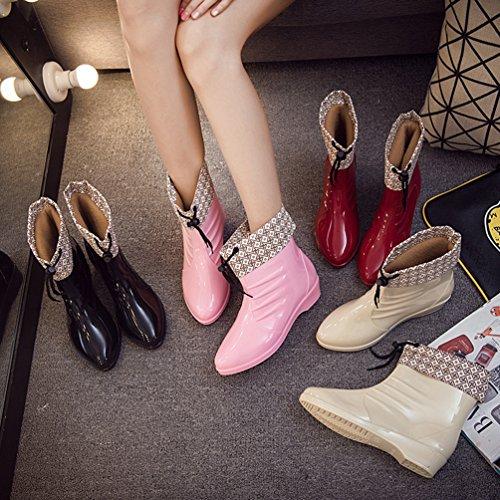 de Xinwcang Pink Impermeable Casual Moda Bota Chelsea Lluvia Mujer de Agua Botas Zapatos Hw5qxwUp