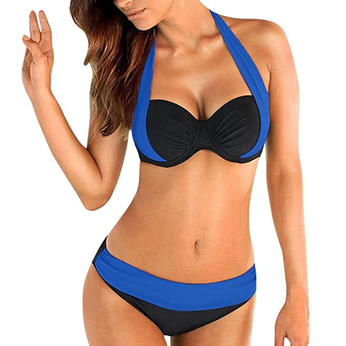 Bañadores Deportivas Mujer Traje de Baño de Mujer Push Up Sujetador Acolchado Bandeau Low Waist Bikini Traje de Baño Más Tamaño
