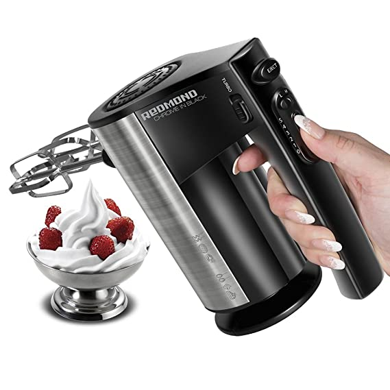 Redmond Plastic, Stainless Steel Hand Mixer Whisker 500 W with 10-Speed Turbo Function, Black, Metallic Hand Mixers at amazon