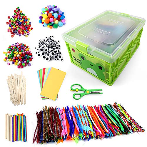 N&T NIETING 1212Pcs Assorted Colors Chenille Stems Pipe Cleaners for DIY Art Craft Supplies Kids Craft Projecties with Pipe Cleaners, Pony Beads, Pom Poms, Wiggle Googly Eyes, Folding Storage Box