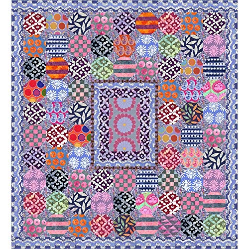 Kaffe Fassett Mediterranean Tiles Quilt Kit Featuring Kaffe Fassett Artisan Fabric (Top, Binding, and Backing)