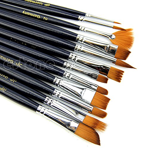 12X Artist Paint Brush Set Nylon Hair Watercolor Acrylic Oil
