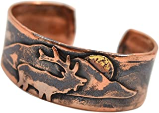 product image for American Made Rustic Unisex Copper Cuff Bracelet - Elk and Mountain Motif