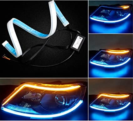 2Pcs 30cm Car Flexible LED Strip Light Tube DRL Flowing Turn Signal Lamp New//