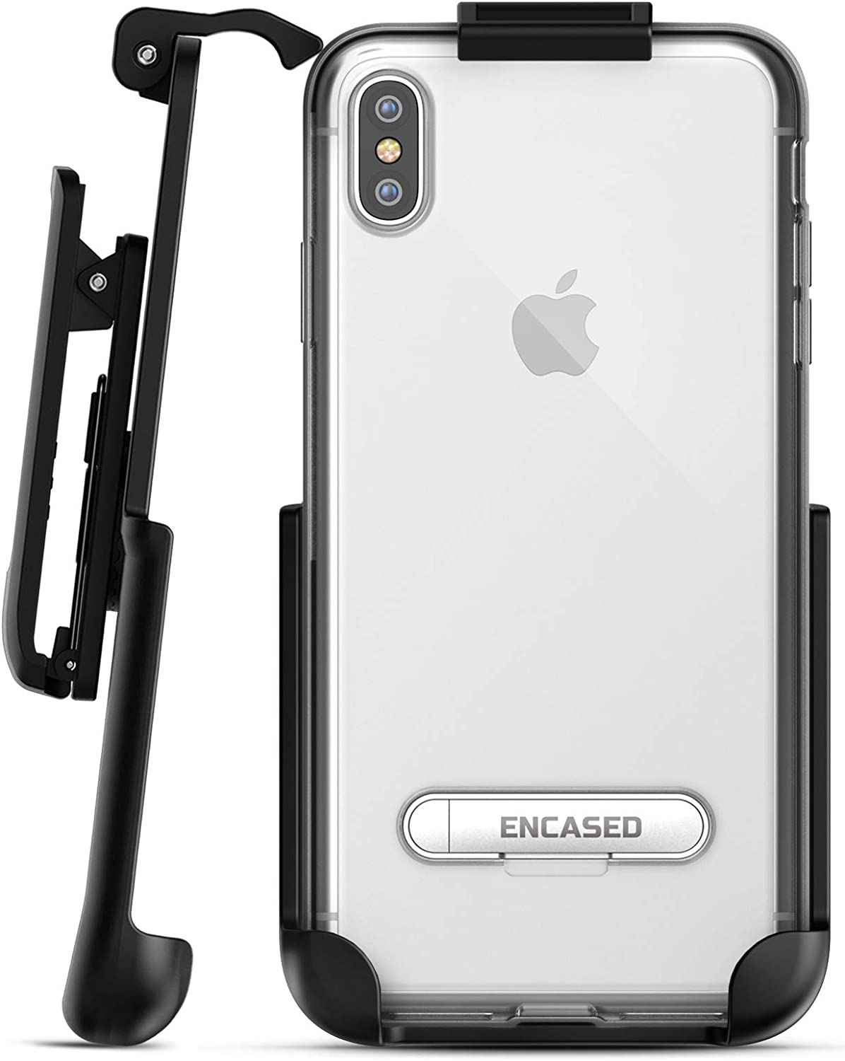Encased iPhone Xs MAX Belt Clip Clear Case with Holster Clip, Ultra Slim Fit Transparent Cover with Metal Kickstand and Belt Holder (Reveal Series) for Apple iPhone Xs MAX Phone (Clear Back)