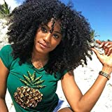 big afro wig - Short Curly Afro Wigs For Black Women Full Machine Made Non Lace Big Curly Hair Wig Heat Resistant Fibre Hair Wigs Heavy Density Black Color