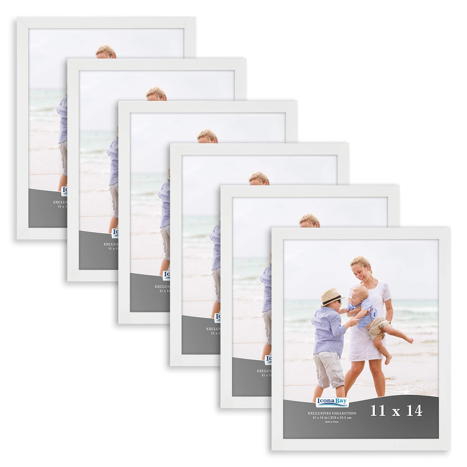 Icona Bay 11x14 Picture Frame (6 Pack, White), White Sturdy Wood Composite Photo Frame 11 x 14, Wall or Table Mount, Set of 6 Exclusives Collection by Icona Bay