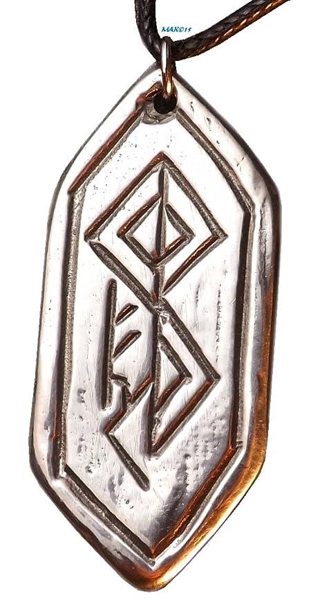 Amazon Fertility Rune Pewter Pendant Norse Nordic Necklace